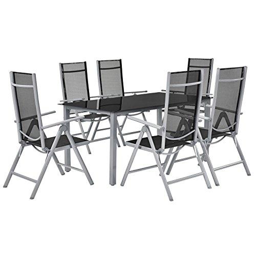 ArtLife Aluminium Gartengarnitur Mailand 7-teilig grau | Metall Gartenmöbel - Set mit Tisch und 6 Stühlen | Alu Sitzgruppe Essgruppe (Hoher Ess-sets Tisch Stuhl Und)