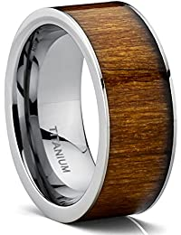 flat top titanium wedding ring band with hawaiian koa wood inlay comfort fit 9 mm - Wooden Wedding Rings For Men