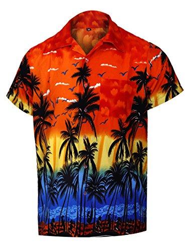 Virgin crafts camicia maniche lunghe hawaiane button down uomo manica corta arancione aloha beach, orangem, l | petto: 46
