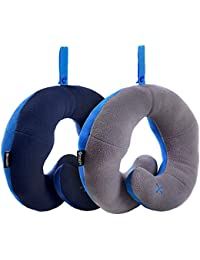 BCOZZY Chin Supporting Travel Neck Pillow - Supports the Head, Neck & Chin in Any Sitting Position. A Patented Product. Set of 2. Adult Size, NAVY+GRAY