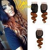 Ugeat 3.5*4' Ombre Bresilien Remy Lace Closure Cheveux 14 Pouces Partie Libre Ondule/ Body Wave Cheveux Humains Naturels 1b/30#