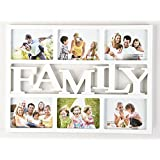 Arpan 6x4'' ''HOME'' or ''FAMILY'' Multi Picture Aperture Photo Frame Holds 6 Photos (White ''FAMILY'')