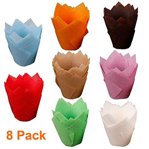 Rameng - 50 Muffin-Tulpenförmchen aus gefaltetem Papier, Backformen für Cupcakes und Muffins. 8pcs