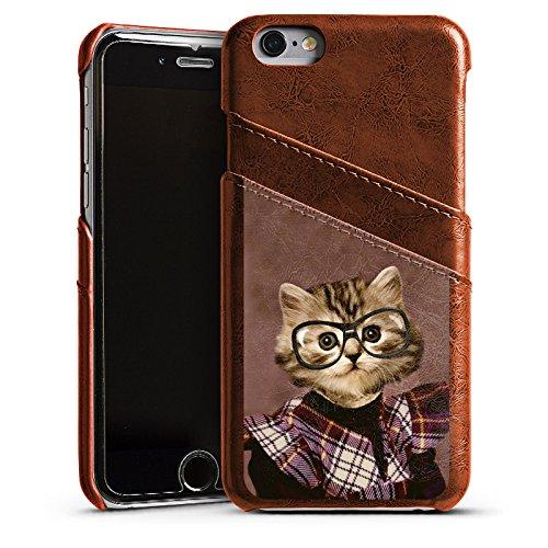 Apple iPhone 4 Housse Étui Silicone Coque Protection Chat Chat Animaux Étui en cuir marron