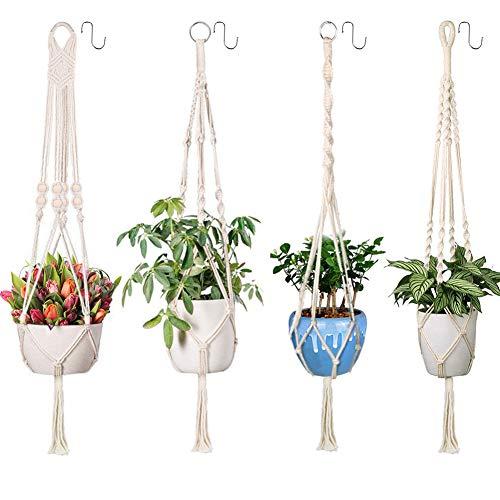 emooqi vasi sospesi per piante sospese portafiori, corda per vasi appesi macrame plant hanger robusto gancio di cotone per piante - -tessitura a mano - per balcone decorazioni da giardino (4 pacchi)