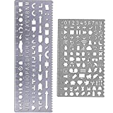 Amtop - Plantillas de latón con número de letras, juego de 2 unidades plata