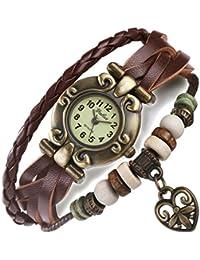 FLORAY Damen und Herren Lederarmband, Armbanduhr, Armband, Herz, Retro Zifferblatt. Länge: 17-19.5cm