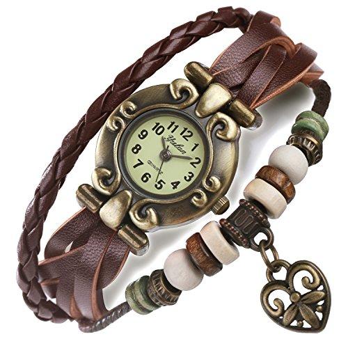 FLORAY Hombre y Mujer Brown Pulsera de cuero, Hermoso reloj, Pulsera ajustable del enrejado, Diseño con Corazón, Dial del reloj retro. Caja de joyería azul gratis. Longitud: 17cm - 19.5