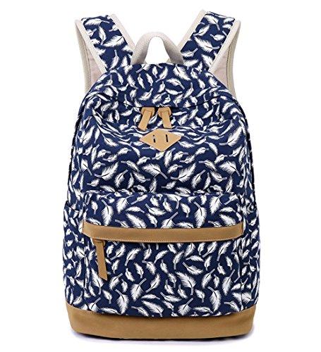 Preisvergleich Produktbild Minetom Mädchen Vintage Canvas Rucksack Teenager Outdoor Freizeit Daypacks Schulrucksack Blau