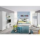 Funktionsbett Manuel 90*200 weiß 3 Schubladen + Regal Jugendzimmer Kinderzimmer Kinderbett Jugendbett Jugendliege Bettliege Bett Schlafcouch