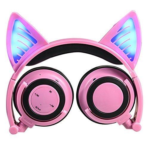 Auriculares de diadema con micrófono y control de volumen, Bluetooth, inalámbricos y con cable, diseño de orejas de gato, con luces LED parpadeantes