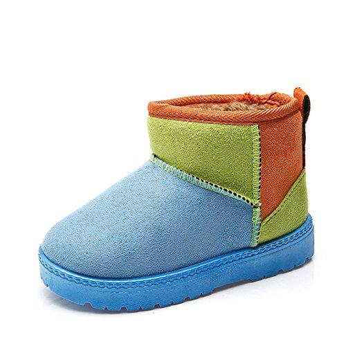Fortuning's JDS Enfants unisexe hiver Épissure chaud couleur enfants Bottes de neige Bottines bottes courtes Bleu