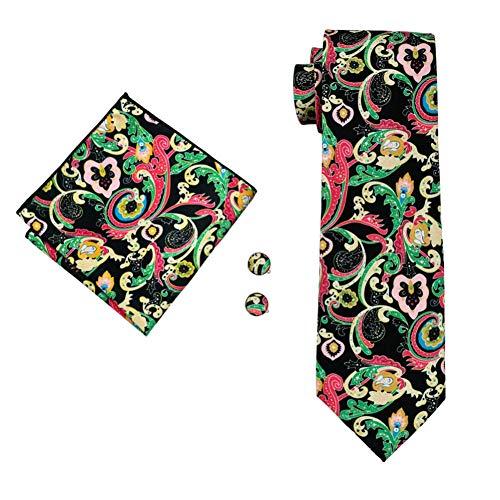 KYDCB Männer Krawatten 8,5 cm Schwarz Grün Blumen 100% Seide Krawatte Herren Business Hochzeit Männlich England Jacquard Gewebt Krawatte -