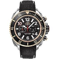 "Emas ""Paparazzi"" Stainless Steel Black Swiss Tech Quartz Cronograph Date Gold Cordura Men's Watch"