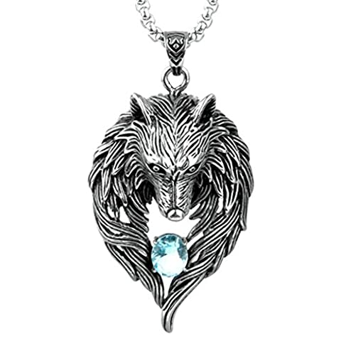 Epinki Fashion Jewelry Stainless Steel Men Wolf with Blue Cubic Zirconia Pendant Necklace Silver