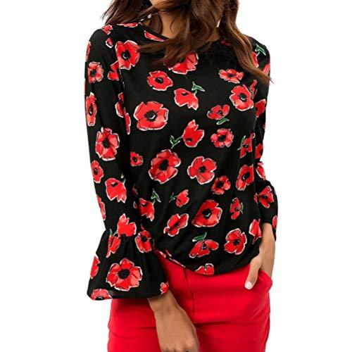 iHENGH Damen Top Women LäSsiger Chiffon Floraler Aufdruck O-Neck Flare Sleeve T-Shirt Bluse Pullover Tops - Sleeve Ballet Neck-shirt