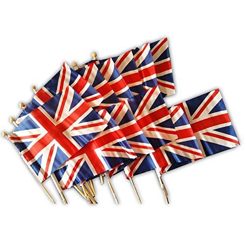 Jack Lambert (Kleine Handflaggen auf Holzstab, Union Jack / GB-Flagge–Pakung mit 12 Stück–jeder Stab ist 30cm Lang, jede Flagge misst 14cm x 21cm (ca.))