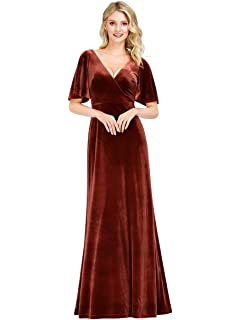 LOPILY Womens Evening Gowns Solid Color Elegant Maxi Dress V Neck Retro Gowns Body-con Dress Ball Gown Gold Velvet Cocktail Party Dresses