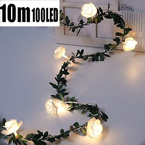DAMAI LED Rosen Lichterkette Weiß Batteriebetrieben 6M 40LED Lichterkettenvorhang Weihnachtsbeleuchtung Deko Party Hochzeit
