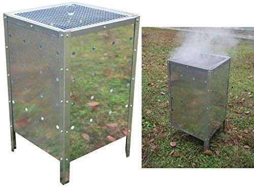 fineway @ Grand Incinérateur de jardin carré Fire Poubelle galvanisé 90l combustion Poubelle Trash