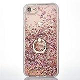 HereMore Funda iPhone SE / 5S con Anillo, Carcasa Protectora Liquido Glitter Case Duro Brillo Anti-arañazos Brillante Cover con 360 Grados Giratorio Ring Grip para iPhone 5S / 5 / SE, Oro Rosa