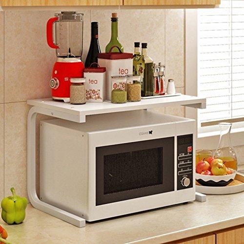 MoMo Küchen-Regale hölzerne zweistöckige Küche versorgt Lagerregal, Mikrowellen-Gestell, Gewürz-Gestell, 60 * 37.5 * 41Cm,* 4 *