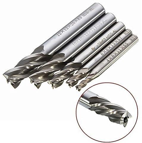 Yosoo Lot de 5tours à tige droite HSS CNC Fraise à 4dents Outil de foret 4/6/8/10/12mm