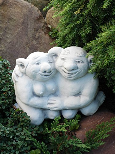 Lustiger Troll Opa und Oma aus Steinguss, frostfest - 2