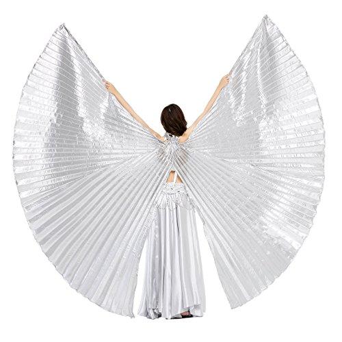 Kostüm Dance Light Led - Dance Fairy Öffnungs Ägypten Bauchtanz Isis Flügel Karnevals Kostüme Damen, Silber(mit Stöcke/Stäbe)