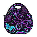 ICOLOR Kids Insulated Lunch Portable Carry Tote Picnic Storage Bag Lunch box Food Bag Gourmet Handbag Cooler warm Pouch Tote bag For School work Office - Purple Butterfly (FLB-020) by ProfessionalBags