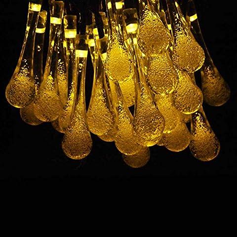 Zetong 6 Meter 30 LEDs Solar Lichterkette Tropfenform Wasserfest Garten Außen Weihnachten Dekoration für Garten, Terrasse, Hof, Haus, Weihnachtsbaum (Weisswarm)