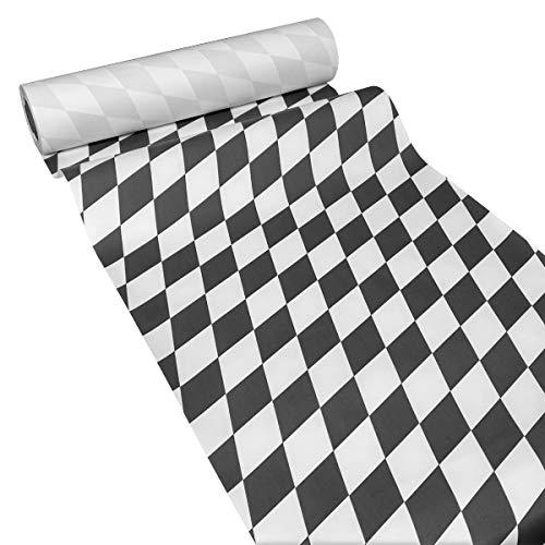 JUNOPAX 38571505 Papiertischläufer 50m x 0,40m Raute schwarz-weiß nass- und wischfest