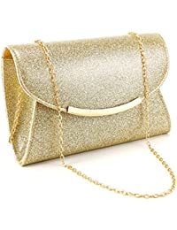 29010fba18 Anladia Glitter Shiny Shoulder Evening Clutch Bag Wedding Prom Party Handbag  Purse