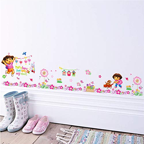 Meaosy Dora The Explorer Blumen Wandaufkleber Kinderzimmer Baseboard Dekoration Cartoon Kinderzimmer Wandbild Kunst Home Decals Kinder Geschenk