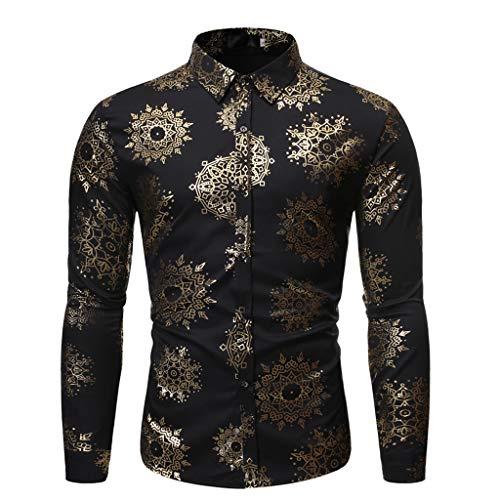 DNOQNHerren Freizeit Herbst Poloshirt T Shirt Lang Mode Gestempelt Langarm Shirt Bedruckte Langarmbluse M