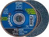 PFERD POLIFAN-Z-BOX - 10 x Fächerscheibe 125mm, Z40, 22,23 mm Bohrung, 69300934 - für hohe Zerspanungsleistung und solide Standzeit auf Stahl und Edelstahl (INOX)