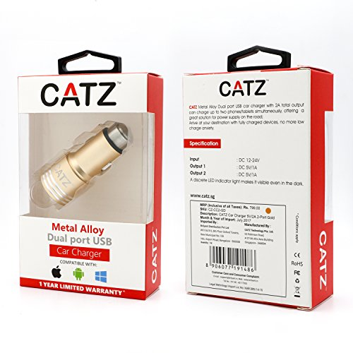 CATZ-Car-Charger-5V2A-2-Port-Gold