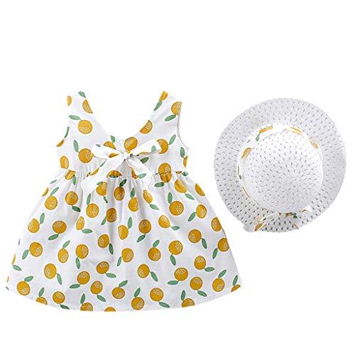 drey 1950er Vintage Hepburn Kleid Prinzessin Ballett Tutu Rock Party,Kleinkind Kind Baby mädchen Obst gedruckt Prinzessin Kleid + Hut Outfits Set Kleidung ()