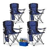 4x Campingstuhl faltbar, Klappstuhl, mit Getränkehalter, mit Rückenlehne und Armlehne, HxBxT: 93x77x52 cm, blau-schwarz