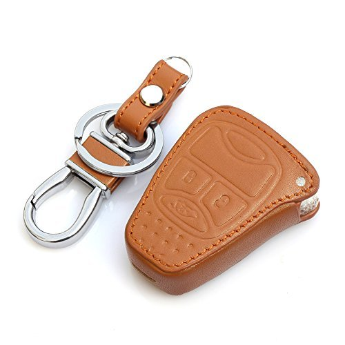 Preisvergleich Produktbild AndyGo Leather Car Remote Key Cover For Jeep Wrangler Jeep Compass Liberty Patriot Commander Grand Cherokee Brown by AndyGo