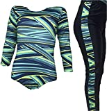 Flexifit Full Sleeves Gymnastics Yoga Aerobics Leotard Costume Blue Yellow Stripes Print