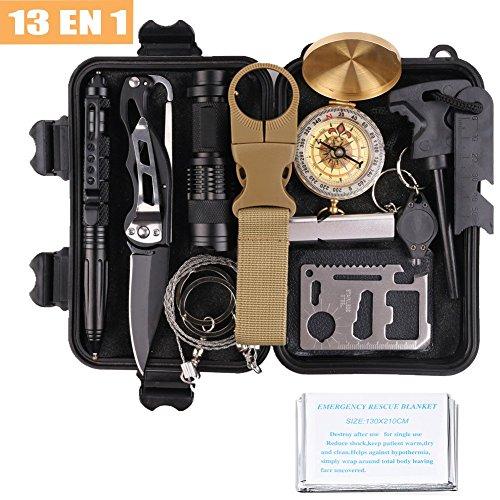 Survival Geeks - Kit de supervivencia militar 13 en 1, Equipo de Emergencia...