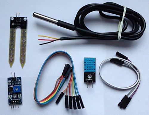 Kit per monitorare il livello di umidità del giardino, compatibile con Arduino, kit composto da modulo sensore di umidità DHT11, sensore di temperatura DS18B20digitale e impermeabile e sensore di umidità del suolo FC28