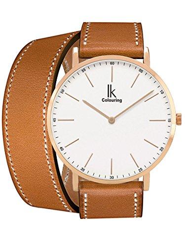 Alienwork IK Wrap2 Quarz Armbanduhr Ultra-flach Uhr Damen Uhren Doppel Wrap Zeitloses Design Leder weiss braun 98469CL-04 (Wrap Doppel Damen)