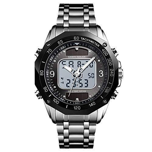 Solar Dual Display elektronische Uhr, Zeiger Stahlgürtel Mode Sportuhr, Multifunktions elektronische Uhr-Silverblack -