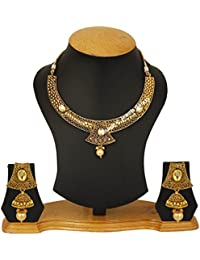 Jewels Galaxy Gold Plated Elegant Kudan Traditional Bridal Necklace Set For Wedding/Party