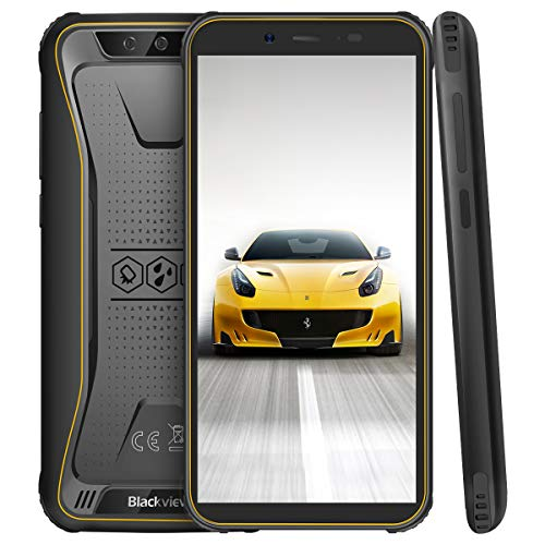Blackview BV5500 Pro Outdoor Smartphone ohne Vertrag, 4G Handy Android 9.0 mit IP68 Wasserdicht, 3GB RAM + 16GB Speicher, 4400mAh Akku, 5.5 Zoll Display Handy (NFC/Face ID) Gelb