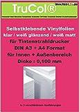10 Blatt DIN A3 weiße matte PVC-Selbstklebefolie ( 0,100 mm )für Tintenstrahldrucker mit rückseitiger Papierabdeckung. Universell einsetzbar im Innen- und kurzfristig im Außenbereich. Vinylfolie Inkjet selbstklebend. Zur Beklebung von ebenen und glatten Oberflächen