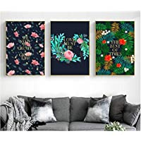 Tanyang Nordic Fresh Plant Flowers Modular Print Picture Wall Art Canvas Paintings Decoration for Living Room No Framed