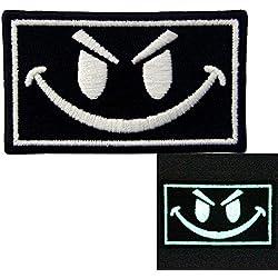 Táctico Evil Smiley Cara sonriente Resplandor en el parche oscuro Bordado de Aplicación con Plancha
